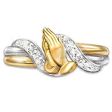 billige Motering-Dame Ring Kubisk Zirkonium 1pc Gull Messing Stål Geometrisk Form Uvanlig Unikt design Mote Gave Ferie Smykker Klassisk Bønn Kul