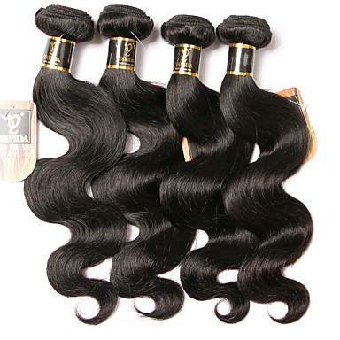 halpa Yksi pakkaus ratkaisu-3 pakettia Hiuskudokset Brasilialainen Runsaat laineet Hiukset Extensions Remy-hius 100% Remy Hair Weave -paketit 300 g Hiukset kutoo Aitohiuspidennykset 8-28 inch Luonnollinen väri Luonto musta