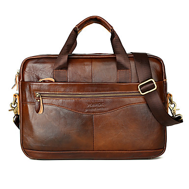 cheap Briefcases-Laptop Bag Briefcase Top Handle Bag Men's Cowhide Belt Zipper Solid Color Daily Office & Career Black Brown