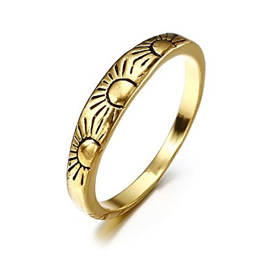 cheap Rings-Women's Band Ring 1pc Yellow Gold Plated Alloy Geometric Unique Design Vintage European Party Gift Jewelry Retro Sun Cool