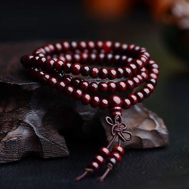 levne Pánské šperky-Pánské Korálkový náramek Wrap Náramky Korálky Vícevrstvé Jednoduchý Vintage Dřevěný Náramek šperky Černá / Žlutá / Červená Pro Denní Street