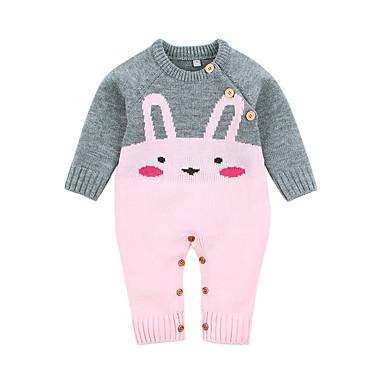 povoljno Odjeća za bebe-Dijete Djevojčice Osnovni Kolaž Životinjski uzorak / Ispleten / Kopča Dugih rukava Jednodijelno Blushing Pink / Dijete koje je tek prohodalo