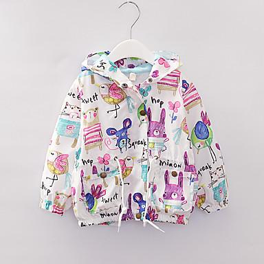 cheap Girls' Jackets & Coats-Kids Girls' Active Print Regular Jacket & Coat White