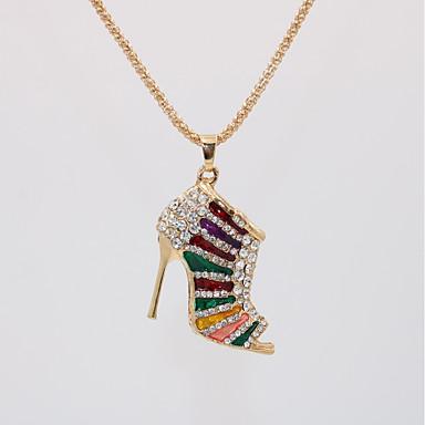 levne Dámské šperky-Dámské Náhrdelníky s přívěšky dlouhý náhrdelník Geometrické Bota Jedinečný design Evropský Moderní Romantické Pozlacené Chrome Černá Fialová Červená Modrá Duhová 70 cm Náhrdelníky Šperky 1ks Pro