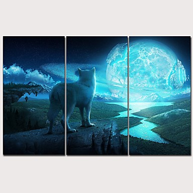 cheap Wall Art-Print Rolled Canvas Prints Stretched Canvas Prints - Animals Arts, Crafts & Sewing Classic Modern Three Panels Art Prints