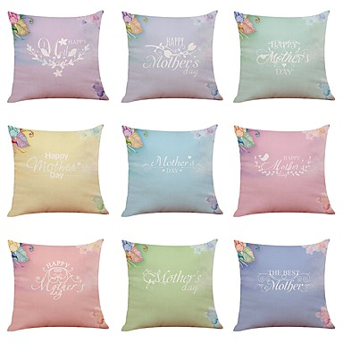 [$58 79] 9 pcs Linen Pillow Cover, Holiday Floral Print Letter New Arrival  European Style