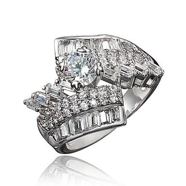 cdc998d259c8 Mujer Claro Zirconia Cúbica Clásico Anillo Chapado en oro 18K Diamante  Sintético Elegante Lujo Romántico Moda Anillos de Moda Joyas Dorado   Plata  Para ...