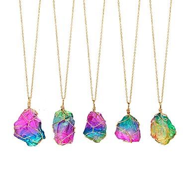 levne Dámské šperky-Dámské Tanzanit Náhrdelníky s přívěšky Geometrické neřezaný diamant Drát Wrap Srdce Cikánské Barevná energie Iridescent Kámen Duhová 50 cm Náhrdelníky Šperky 1ks Pro Svatební Zásnuby