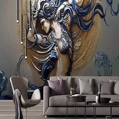 cheap Wallpaper-Wallpaper / Mural / Wall Cloth Canvas Wall Covering - Adhesive required Art Deco / 3D / Angel