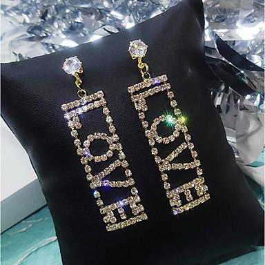 povoljno Modne naušnice-Žene Viseće naušnice Jastuk Slatka Style Imitacija dijamanta Naušnice Jewelry Zlato / Pink Za Vjenčanje Party Angažman Voljeni 1 par