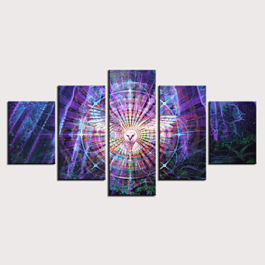 cheap Wall Art-Print Stretched Canvas Prints - Abstract Animals Classic Modern Five Panels Art Prints
