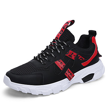 Men's Running Shoes Sneakers Breathable Comfortable Running Jogging Autumn / Fall Winter Black / Red Black / Yellow White