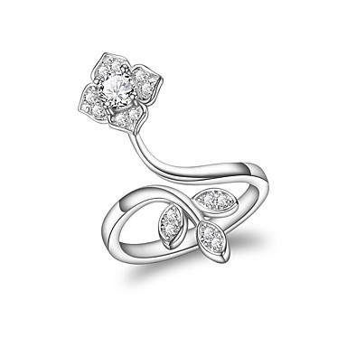 billige Ringer i sterlingsølv-Dame Ring Kubisk Zirkonium 1pc Sølv 18K Gullbelagt Stilfull Luksus Romantikk Fest Engasjement Smykker Klassisk Blomst Kul Smuk