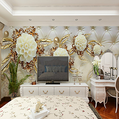 cheap Wall Art-Wallpaper / Mural / Wall Cloth Canvas Wall Covering - Adhesive required Floral / Art Deco / 3D