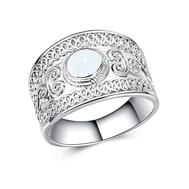 billige Motering-Dame Band Ring Ring Syntetisk Opal 1pc Hvit Blå Legering Geometrisk Form Statement Stilfull Luksus Fest Gave Smykker Kul
