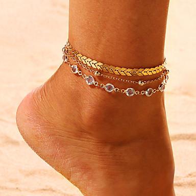 levne Dámské šperky-Dámské Kubický zirkon kotník náramek šperky na nohy Vícevrstvé Arrow Tropický vzhled Casual / Sportovní Bikini Nákotník Šperky Zlatá / Stříbrná Pro Ležérní Bikini