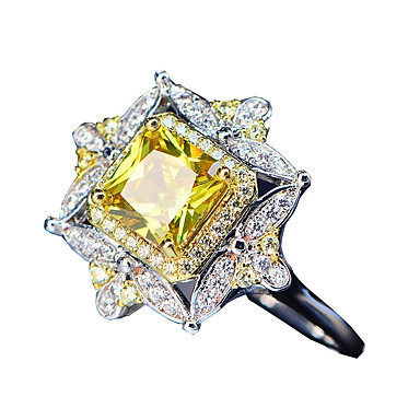 billige Motering-Dame Ring Citrin 1pc Hvit Kobber Geometrisk Form Stilfull Luksus Europeisk Fest Gave Smykker Blomst Kul