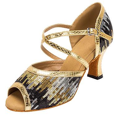 Γυναικεία Παπούτσια Χορού Συνθετικά Παπούτσια χορού λάτιν Παγιέτες Τακούνια Κουβανικό Τακούνι Εξατομικευμένο Χρυσό / Επίδοση