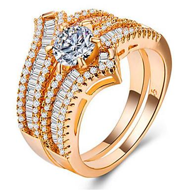 billige Motering-Dame Ring Set Micro Pave Ring Kubisk Zirkonium 2pcs Gull Sølv Rose Gull Kobber Gullbelagt Geometrisk Form Unikt design Europeisk Romantikk Bryllup Gave Smykker Tofargede Tro Søtt