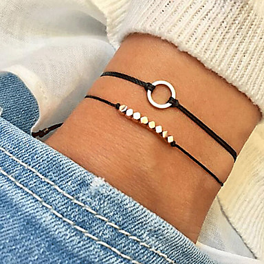 cheap Bracelets-2pcs Women's Chain Bracelet Classic Double Layered Teardrop Cheap Simple Korean Cute Cord Bracelet Jewelry Black For Gift Daily Prom