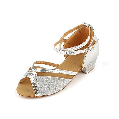 ราคาถูก รองเท้าเต้นราคาถูก-เด็กผู้หญิง รองเท้าเต้นรำ PU ลาติน ส้น หนา Heel สีทอง / สีเงิน / สีบานเย็น / Performance / ฝึก