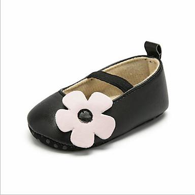 voordelige Babyschoenentjes-Meisjes Eerste schoentjes PU Platte schoenen Peuter (9m-4ys) Bloem Zwart / Grijs / Roze Lente zomer