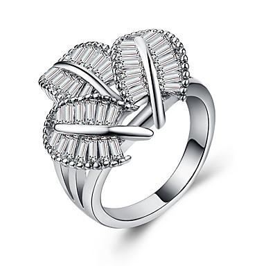 billige Motering-Dame Statement Ring Kubisk Zirkonium 1pc Hvit Kobber Platin Belagt Stilfull Europeisk Romantikk Bryllup Gave Smykker Klassisk Blad Formet Kul