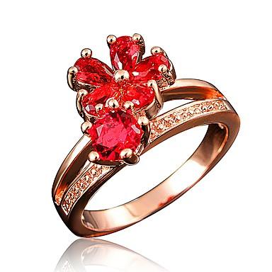 b4ecd6a29468b9 Women's Clear Cubic Zirconia Classic Ring Engagement Ring 18K Gold Plated  Imitation Diamond Flower Stylish Luxury Romantic Fashion Elegant Ring  Jewelry Red ...