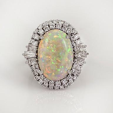 billige Motering-Dame Ring Opal Månesten 1pc Hvit Kobber Geometrisk Form Stilfull Europeisk Tropisk Bryllup Gave Smykker Vintage Stil Kul