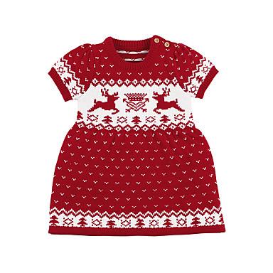 povoljno Odjeća za bebe-Dijete Djevojčice Osnovni Print Print Kratkih rukava Iznad koljena, mini Haljina Red / Dijete koje je tek prohodalo