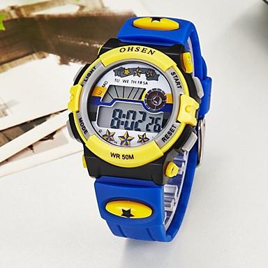 levne Pánské-OHSEN Pro páry Digitální hodinky Digitální Pryž Modrá / Růžová / Fialová 50 m Voděodolné Kalendář Chronograf Digitální Na běžné nošení Barevná - Modrá Růžová Světle modrá