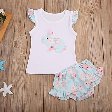 preiswerte Angebote zu Ostern-Baby Mädchen Aktiv Blumen Kurzarm Standard Kleidungs Set Gelb