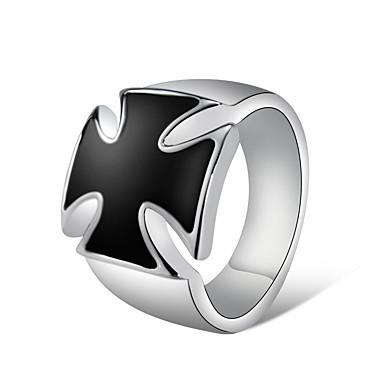 billige Motering-Herre Par Ring Signet Ring Krystall 1pc Sølv Kobber Sølvplett Kunstnerisk Unikt design trendy Fest Gate Smykker Kors Kul