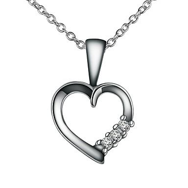 320ec88d6eac Mujer Claro Zirconia Cúbica Clásico Collares con colgantes Collares de cadena  Collar Plateado Corazón Simple Básico Romántico Moda Bonito Boda Plata 46  cm ...