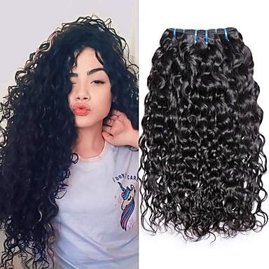 povoljno Ekstenzije od ljudske kose-4 paketića Brazilska kosa Water Wave Virgin kosa Ljudske kose plete Bundle kose Jedan Pack Solution 8-28inch Prirodna boja Isprepliće ljudske kose Sladak Sigurnost Modni dizajn Proširenja ljudske kose