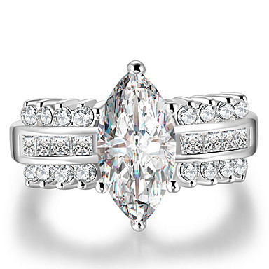 billige Motering-Dame Ring Micro Pave Ring Kubisk Zirkonium 1pc Hvit Kobber Geometrisk Form Stilfull Luksus Europeisk Gave Stevnemøte Smykker Kjærlighed Kul