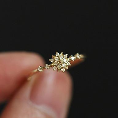 billige Motering-Dame Ring Løftering Tail Ring Krystall 1pc Gull 18K Gullbelagt Østerrisk krystall Rund Enkel Unikt design Romantikk Bursdag Engasjement Smykker Klassisk Snøfnugg Søtt