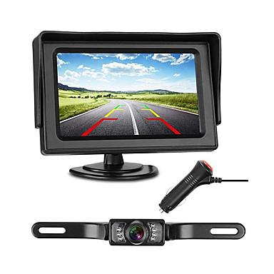 levne Auto Elektronika-772 4 inch TFT-LCD 480TVL 480 TV-Lines 1/4 palcový barevný CMOS s vysokým rozlišením Kabel 170 stupňů 1 pcs 135 ° 4.3 inch Kamera pro zpětný pohled / Monitor pro zpětný chod vozu LED indikátor / Plug