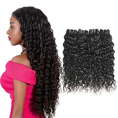 povoljno Ekstenzije od ljudske kose-4 paketića Brazilska kosa Water Wave Virgin kosa Ljudske kose plete Bundle kose Jedan Pack Solution 8-28inch Prirodna boja Isprepliće ljudske kose Sladak Modni dizajn Dar Proširenja ljudske kose