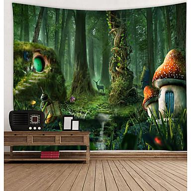 billige Wall Tapestries-veggteppe kunst dekor teppe gardin piknik duk hengende hjem soverom stue sovesal dekorasjon tegneserie fantasy eventyr sopp skog hus