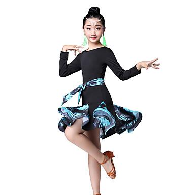 309b34b9ddd1 Latin Dance / Kids' Dancewear Dresses Girls' Performance Nylon Pattern /  Print / Ruching / Split Joint Long Sleeve High Dress 7184672 2019 – $26.99