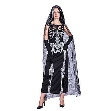 3999 Calavera Fantasma Vestidos Disfrace De Cosplay Adulto Mujer Vestidos Halloween Halloween Carnaval Mascarada Festival Celebración Poliéster