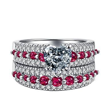 levne Dámské šperky-Dámské Prsten Sada kroužků Kubický zirkon 2pcs Růžová Slitina Dar Denní Šperky