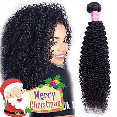 povoljno Ekstenzije od ljudske kose-4 paketića Brazilska kosa Kinky Curly Remy kosa Ljudske kose plete Bundle kose Jedan Pack Solution 8-28inch Prirodna boja Isprepliće ljudske kose Jednostavan Odor Free Modni dizajn Proširenja ljudske