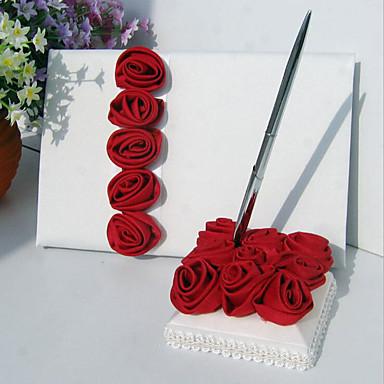 preiswerte Sets aus den Hochzeitskollektionen-Hochzeit Gästebuch / Schreiber Mit Blume Nichtgewebt