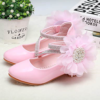 cheap For ages 9 mos.-4 yrs.-Girls' Flower Girl Shoes / Tiny Heels for Teens PU Heels Toddler(9m-4ys) / Little Kids(4-7ys) / Big Kids(7years +) Flower White / Pink Spring / Fall / Wedding / Party & Evening / Wedding / Rubber