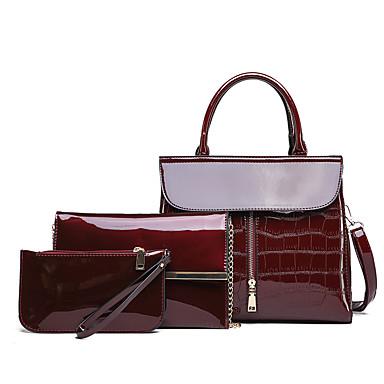preiswerte Taschen-Damen Reißverschluss Lackleder / PU Bag Set Volltonfarbe 3 Stück Geldbörse Set Schwarz / Blau / Rote