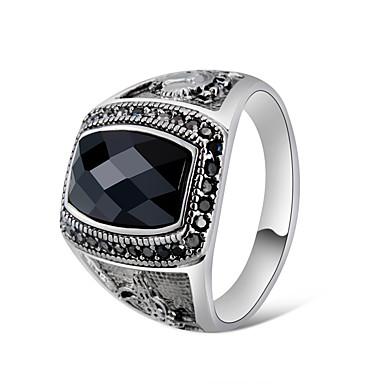 voordelige Herensieraden-Heren Voor Stel Statement Ring Ring Zegelring Kristal 1pc Zilver Koper Verzilverd Artistiek Uniek ontwerp modieus Feest Professioneel Sieraden Retro Cool