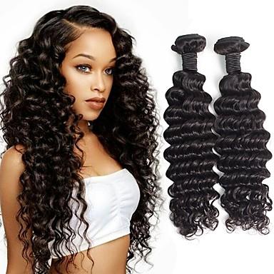 povoljno Ekstenzije od ljudske kose-4 paketića Brazilska kosa Duboko Val Remy kosa Ljudske kose plete Bundle kose Jedan Pack Solution 8-28 inch Prirodna boja Isprepliće ljudske kose Odor Free Nježno Moda Proširenja ljudske kose