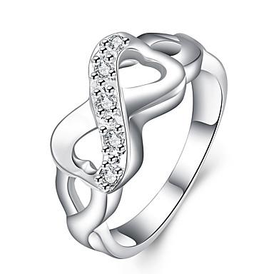 billige Motering-Dame Statement Ring Sølv Sølvplett Legering damer Personalisert Luksus Bryllup Fest Smykker Dobbel X-ring evighet